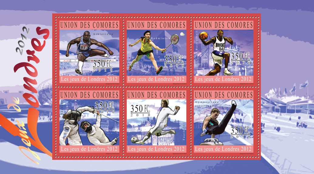 Olympic Games - London 2012,  ( Athletics ... Rhythmic Gymnastics ). - Issue of Comoros postage stamps