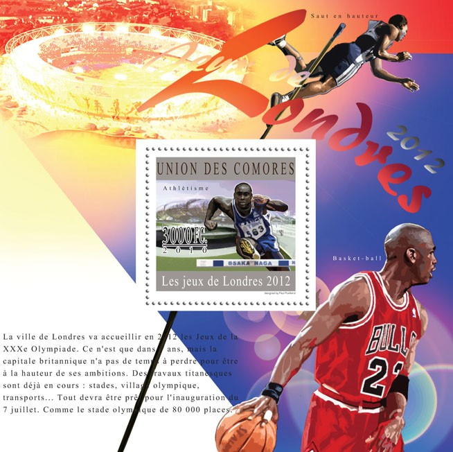 Olympic Games - London 2012, ( Athletics ). - Issue of Comoros postage stamps
