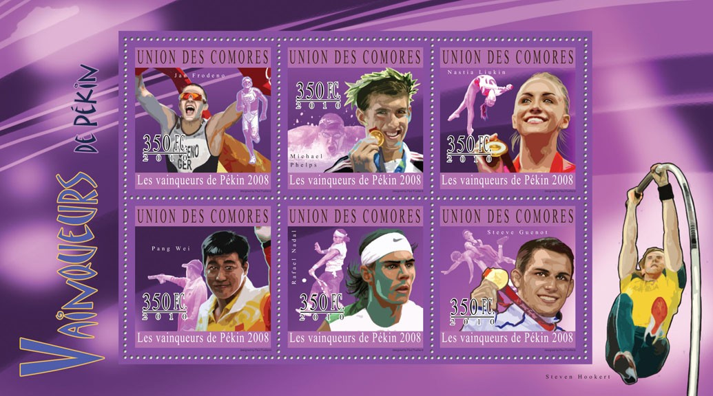 The Winners of Beijing 2008,  ( Jan Frodeno ... Steve Guenot ). - Issue of Comoros postage stamps