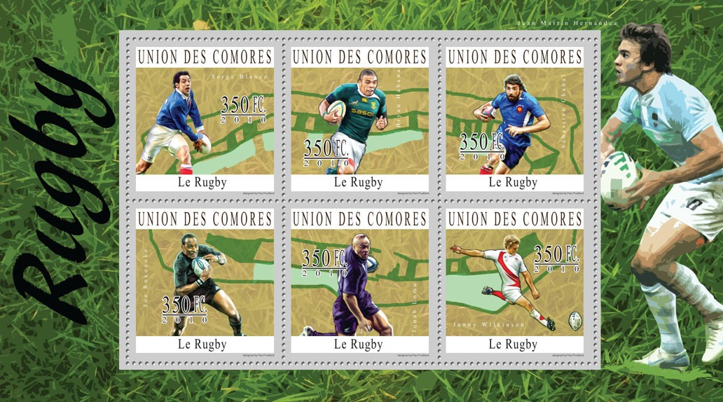 Rugby, (Serge Blanco ... Jonny Wilkinson). - Issue of Comoros postage stamps