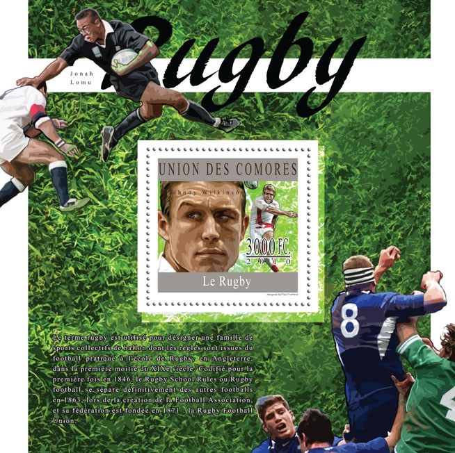 Rugby, (Jonny Wilkinson). - Issue of Comoros postage stamps