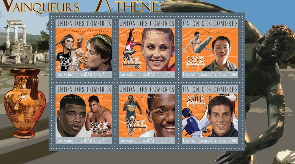 The Winners of Athens 2004,  (Andreas Thorkildsen ... Steven Lopez). - Issue of Comoros postage stamps