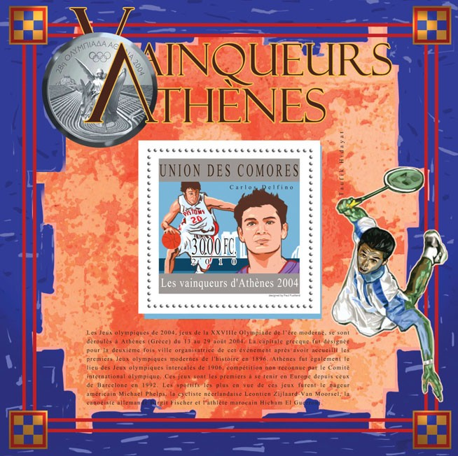 The Winners of Athens 2004, (Carlos Delfino). - Issue of Comoros postage stamps