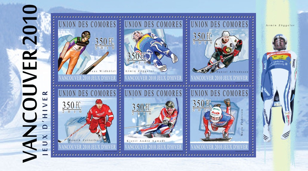 Winter Games - Vancouver 2010,  (Andreas Widholtz ... Maya Pedersen). - Issue of Comoros postage stamps