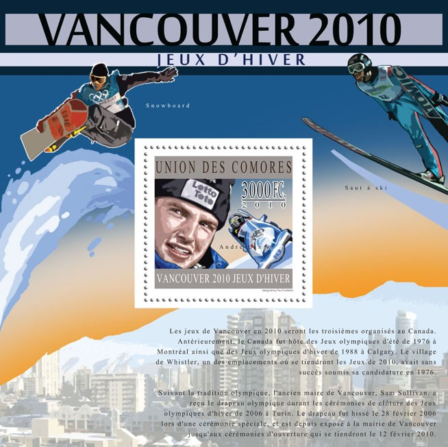 Winter Games - Vancouver 2010, (Andre Lange). - Issue of Comoros postage stamps