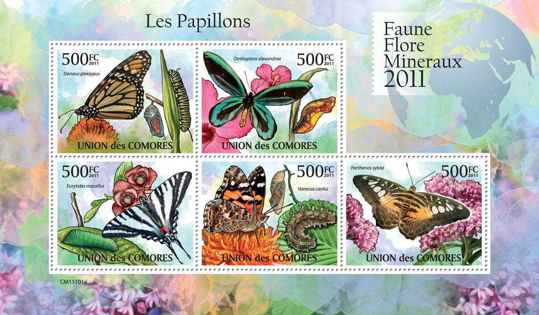 Butterflies I. - Issue of Comoros postage stamps