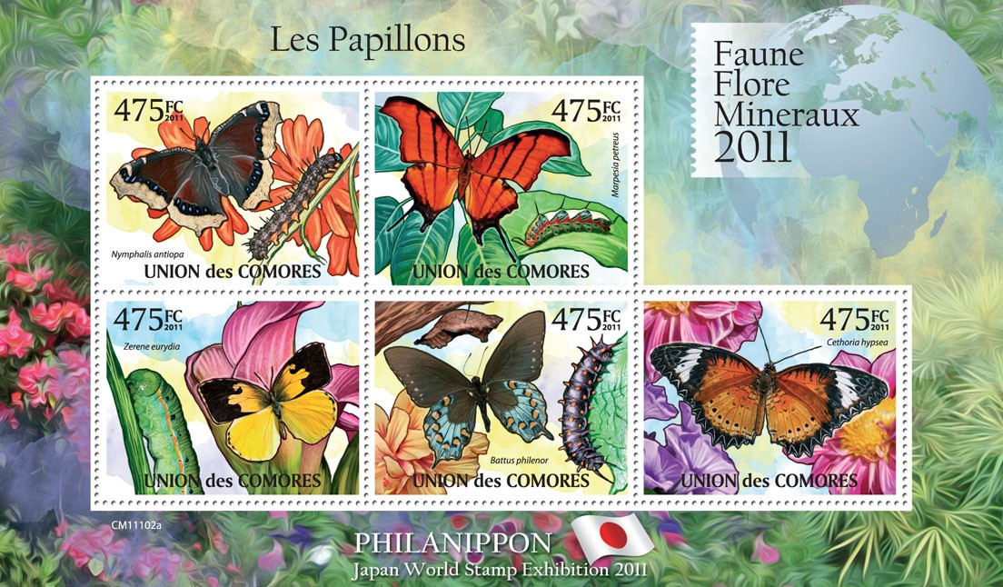Butterflies II, Philanippon 2011. - Issue of Comoros postage stamps