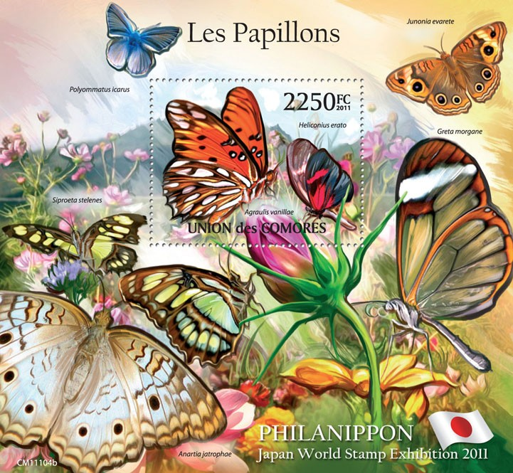 Butterflies IV, Philanippon 2011. - Issue of Comoros postage stamps