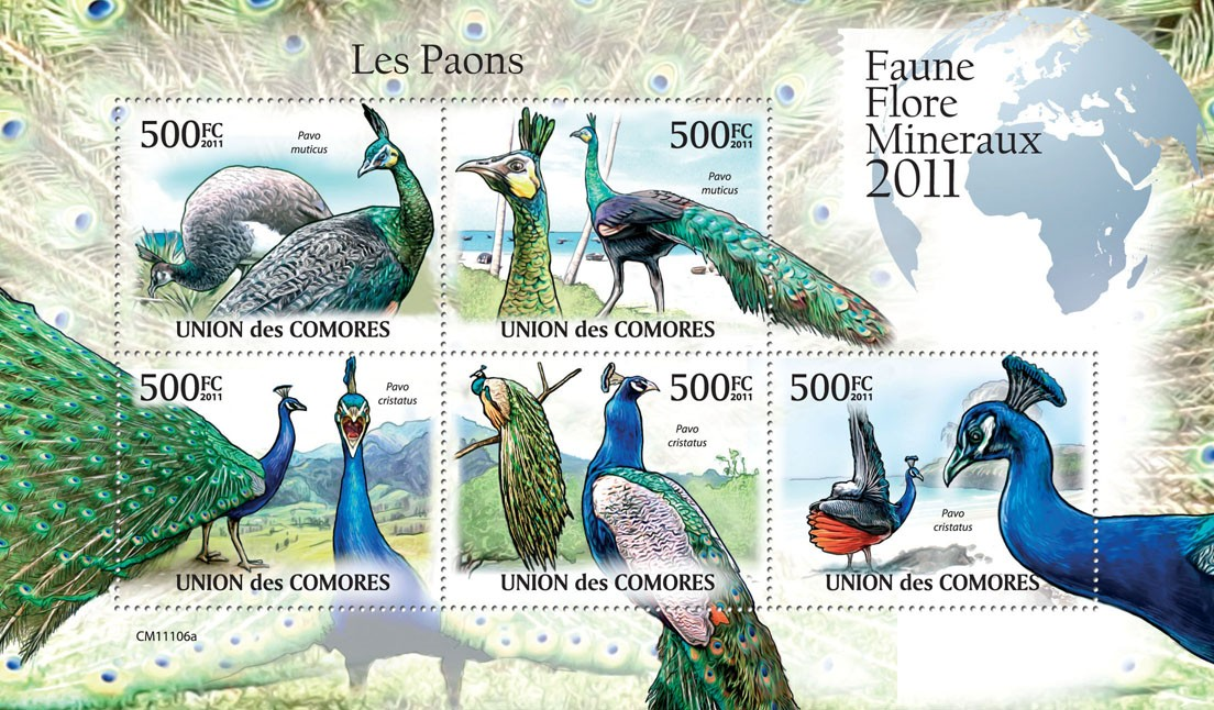 Peacocks. - Issue of Comoros postage stamps