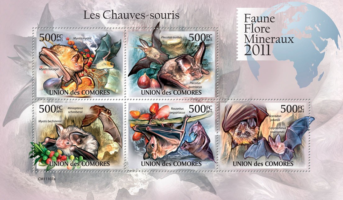 Bats. - Issue of Comoros postage stamps
