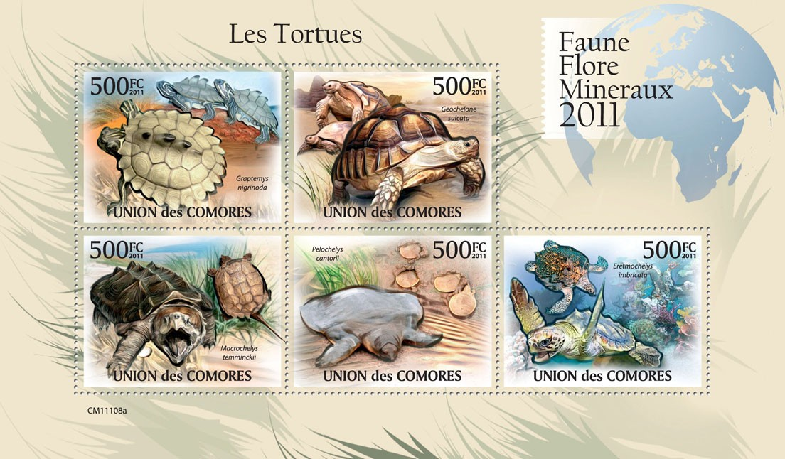 Turtles. - Issue of Comoros postage stamps