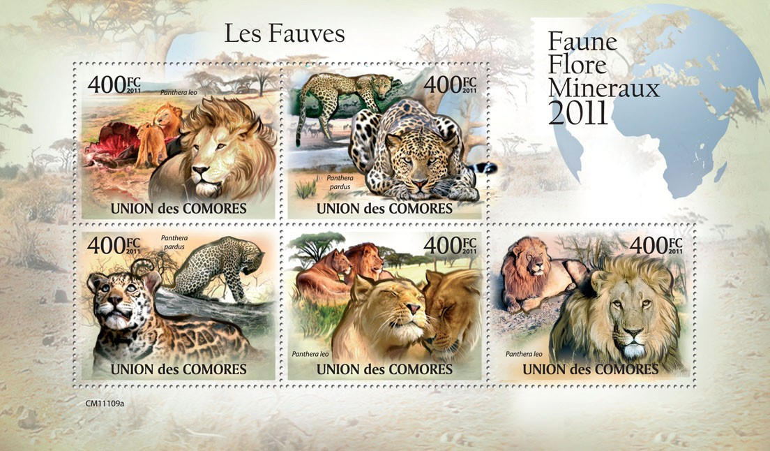 Felines. - Issue of Comoros postage stamps