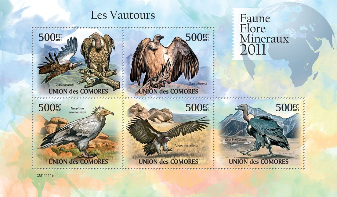 Vultures. - Issue of Comoros postage stamps