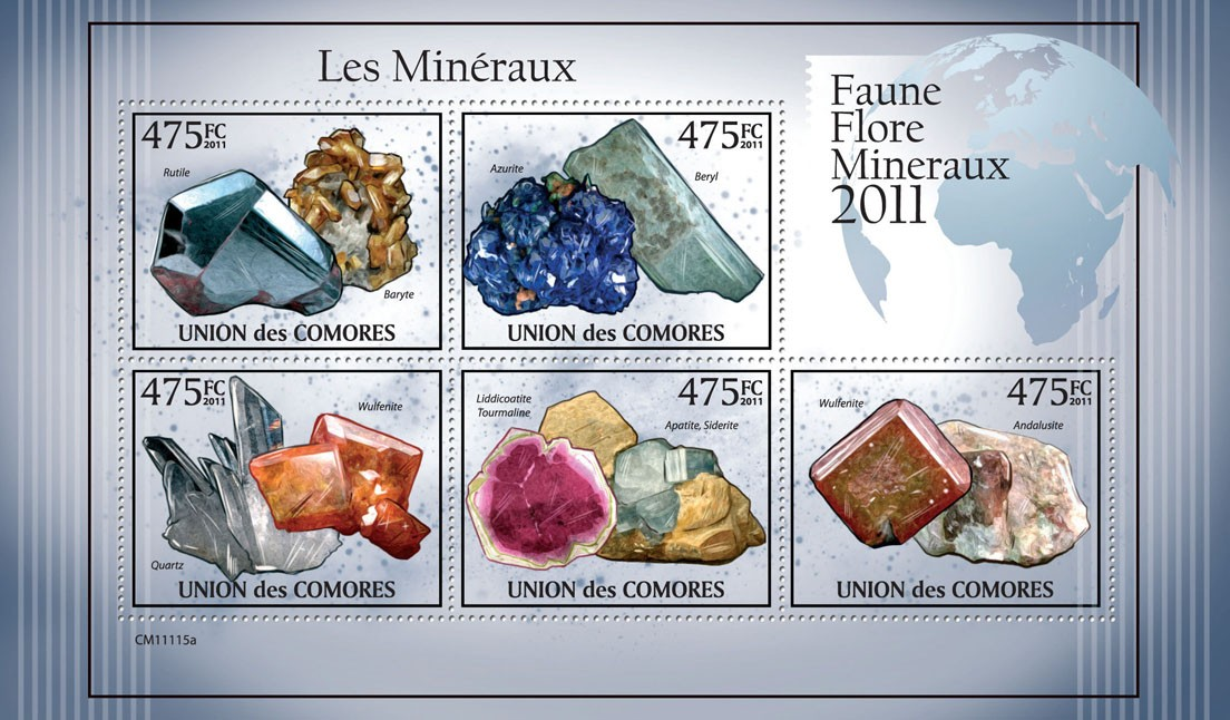 Minerals I. - Issue of Comoros postage stamps