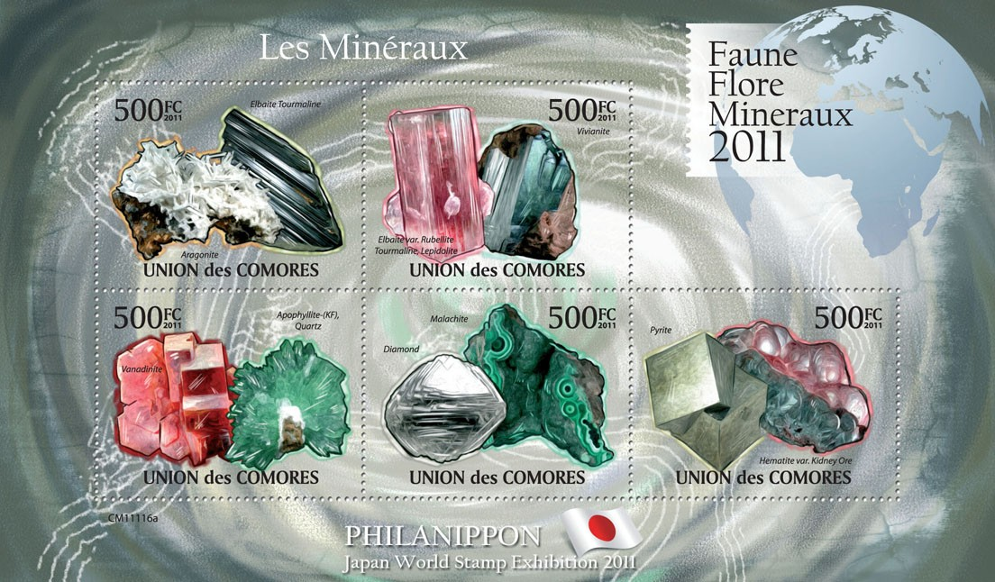 Minerals II, Philanippon 2011. - Issue of Comoros postage stamps