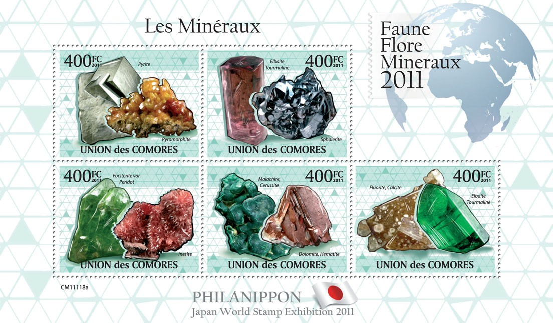 Minerals IV, Philanippon 2011. - Issue of Comoros postage stamps
