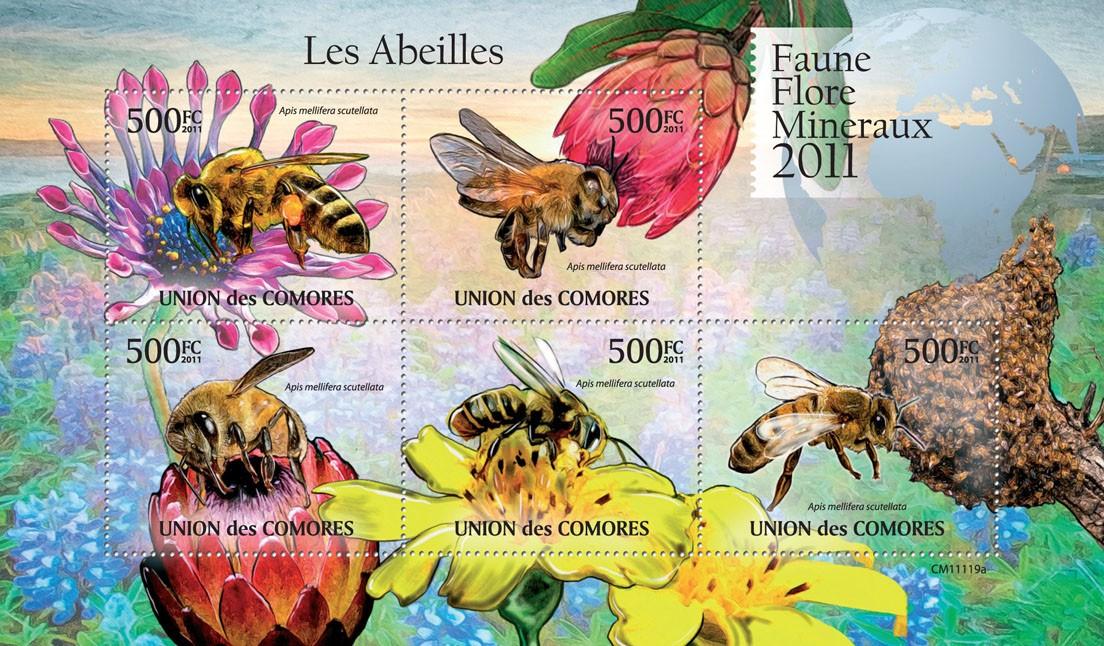 Bees (Apis mellifera scutellata). - Issue of Comoros postage stamps