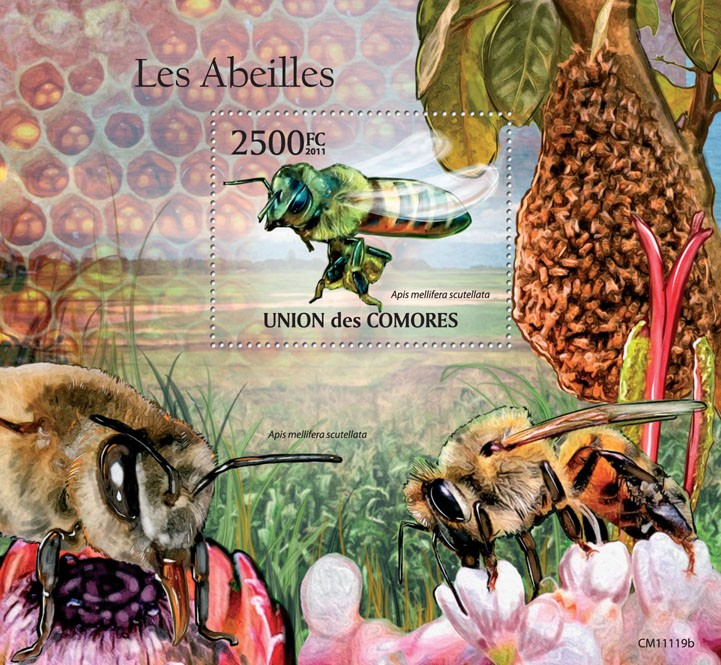 Bees (Apis mellifera scutellata). - Issue of Comoros postage stamps