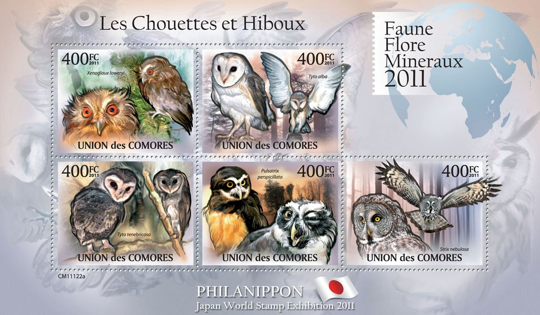 Owls II, Philanippon 2011. - Issue of Comoros postage stamps