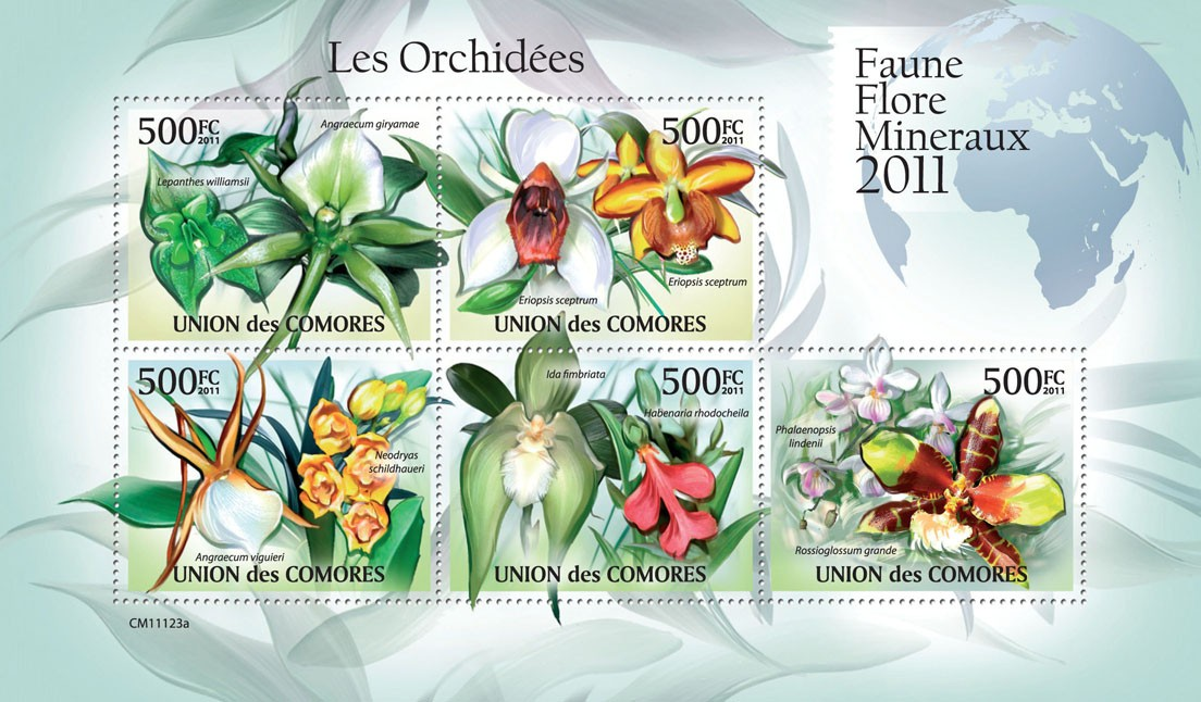 Orchids (Angreacum giryamae, Rossiglossum grande). - Issue of Comoros postage stamps