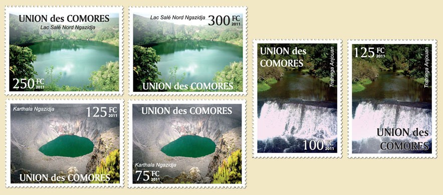 Karthala Ngazidja, Tratringa Anjouan, Lac Sale Nord Ngazidja 6v - Issue of Comoros postage stamps