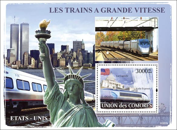 Trains American / AcelaExpress - Issue of Comoros postage stamps