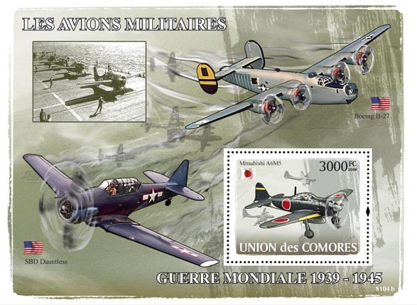 Aircraft of World War II - 1939-1945 - Issue of Comoros postage stamps