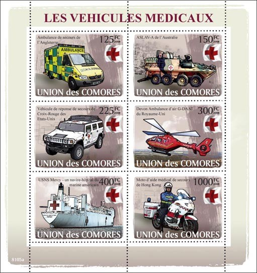 Transport of Medical / Red Cross - Issue of Comoros postage stamps