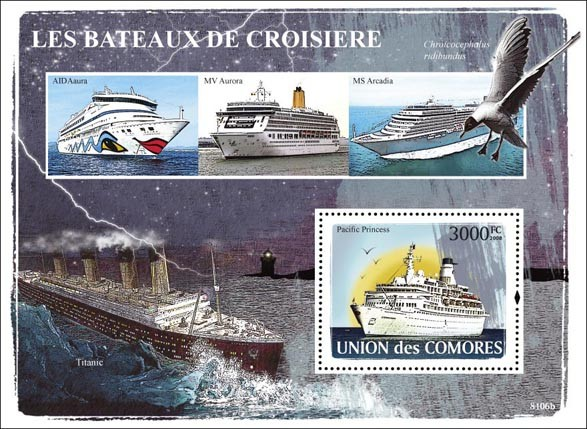 Cruise ships - Issue of Comoros postage stamps