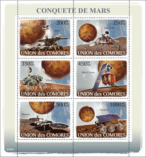 The conquest of Mars - Issue of Comoros postage stamps