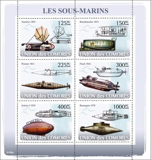 Submarines - Issue of Comoros postage stamps