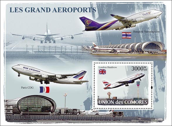 Top Airports - Issue of Comoros postage stamps