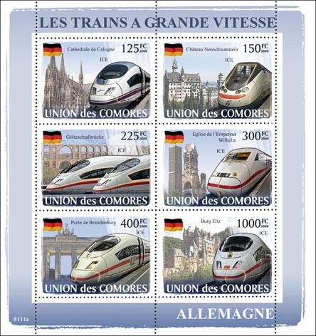 Trains Germany / ICE - Issue of Comoros postage stamps