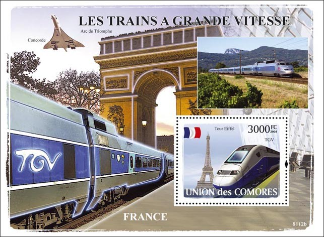Trains France / TGV - Issue of Comoros postage stamps