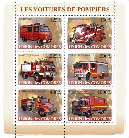 Fire Engines - Issue of Comoros postage stamps