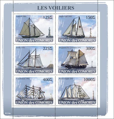 Sail Ships, Lighthouses - Issue of Comoros postage stamps