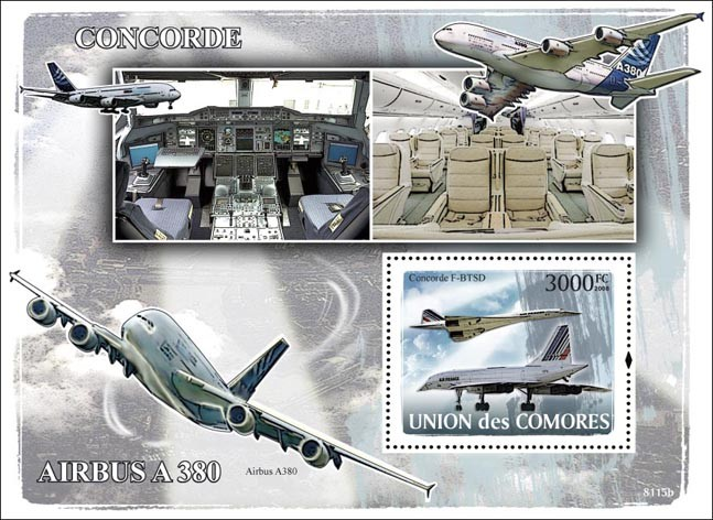 Concorde, Airbus - Issue of Comoros postage stamps