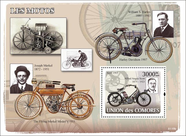 Old Motorcycles - Issue of Comoros postage stamps