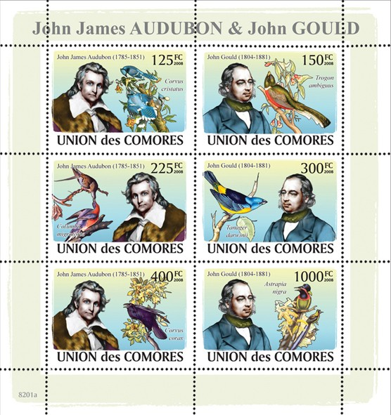 John James Audubon & John Gould & Birds - Issue of Comoros postage stamps