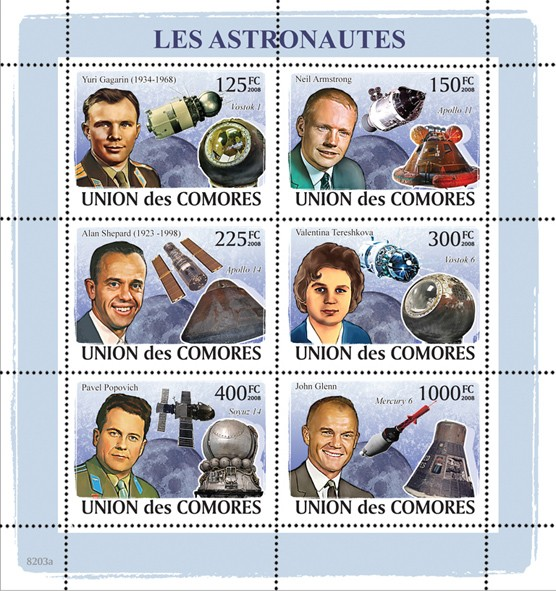 Astronauts & Space - Issue of Comoros postage stamps