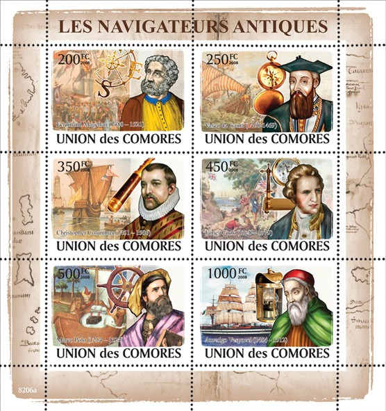 Great Navigators & Sail ships - Issue of Comoros postage stamps