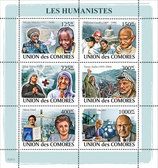 Humanists - Issue of Comoros postage stamps