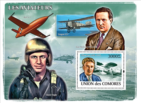Aviators & Aircrafts - Issue of Comoros postage stamps