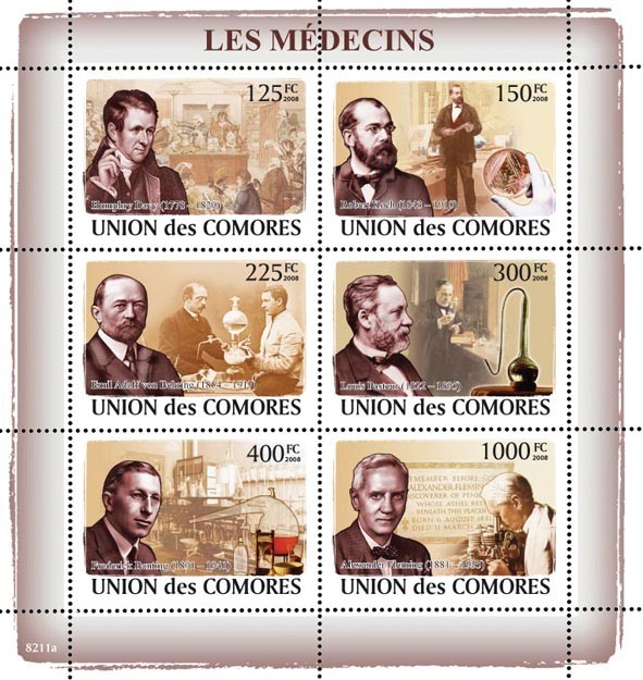 Doctors Celebrities (H.Davy, R.Koch, E.A.von Behring, L.Pasteur, F.Banting, A.Fleming) - Issue of Comoros postage stamps