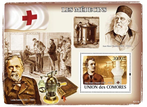 Doctors Celebrities, Red Cross(J.H.Dunant, L.Pasteur) - Issue of Comoros postage stamps
