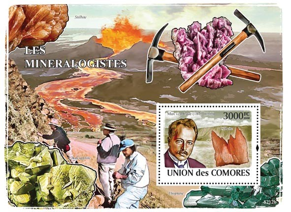Mineralogists & Minerals(Max von Laure, Calcite) - Issue of Comoros postage stamps