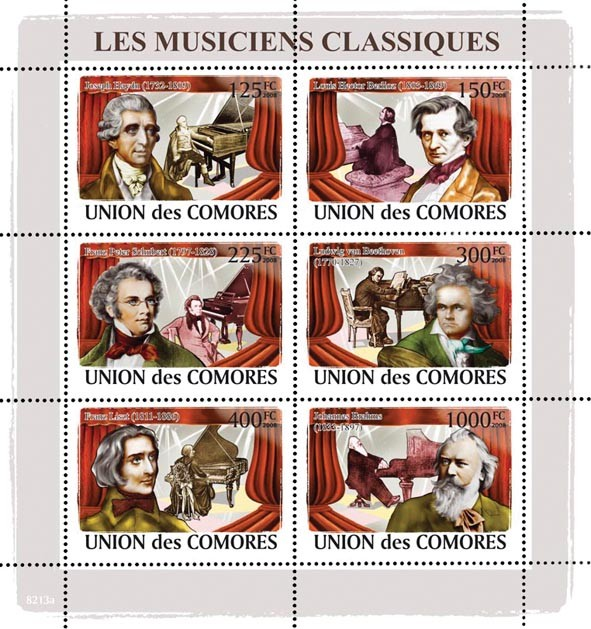 Classic Musicians & Pianos (J.Haidn, J.H.Berlioz, F.P.Shubert, L.van Beethoven, F.Liszt, J.Brahms) - Issue of Comoros postage stamps
