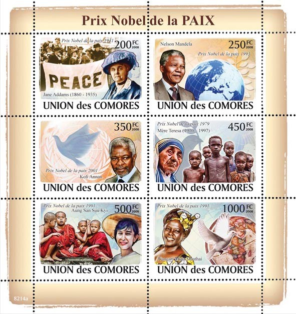 Nobel Prix of Peace (J.Adams, Nelson Mandela, Kofi.Annan, Mother Teresa, Aung San Suu Kyi, W.M. Maathai) - Issue of Comoros postage stamps