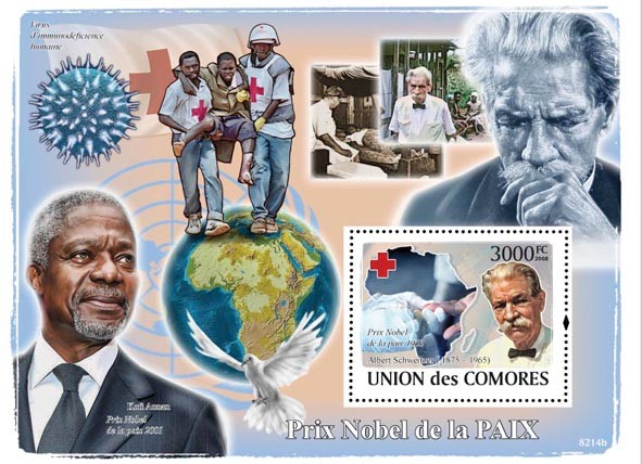 Nobel Prix of Peace, Red Cross(A.Schweitzer, Kofi Annan) - Issue of Comoros postage stamps