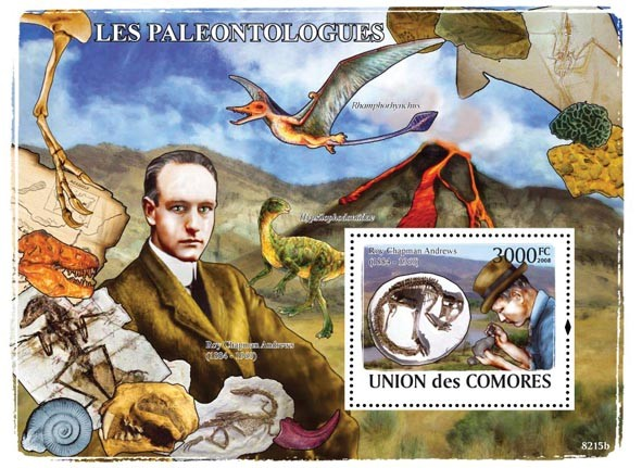 Paleontologist & Dinosaurs (Roy Chapman Andrews) - Issue of Comoros postage stamps